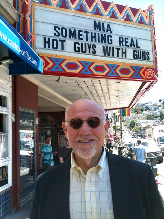 Alan in front of The Castro Theater Marquee in San Francisco for HOT GUYS WITH GUNS.