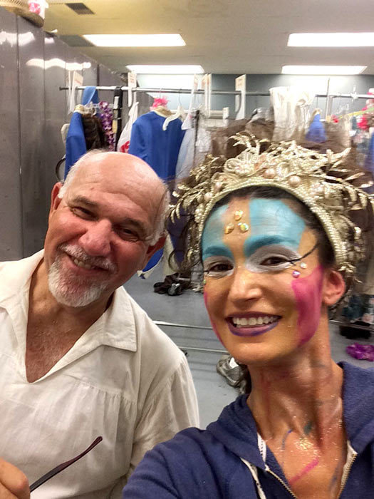 Backstage at Polynesian theme MIDSUMMER.  I stepped in for Bottom.  3 rehearsals 2 performances a joy to revisit this wonderful character.  Here is some backstage glamour ... with Titania.