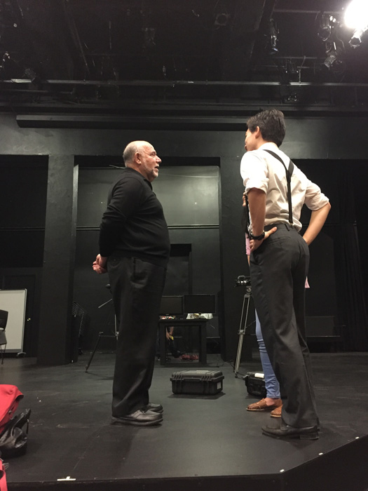 Students are coming in early for Alan's master class in Acting for the Camera at the University of California Berkeley School of Drama, April 27, 2017.