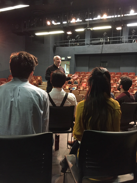 Alan teaching a master class in Acting for the Camera at the University of California Berkeley School of Drama, April 27, 2017.